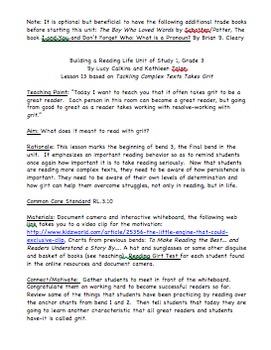Bend 3 Building a Reading Life Unit of Study Lesson Plans/ Gr 3