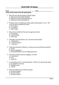 Bend it Like Beckham - 50 Question Multiple Choice Quiz