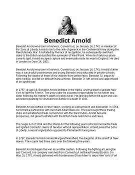 Benedict Arnold Article Biography and Assignment