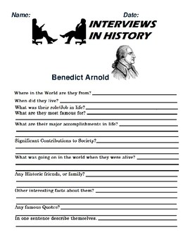 Benedict Arnold Research and interview Assignment