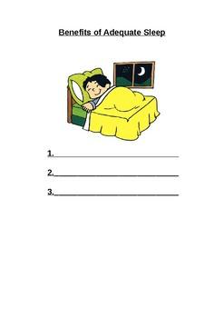 Benefits of Adequate Sleep Printable