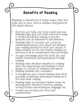Benefits of Reading Sample List