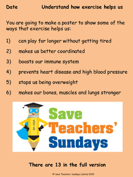 Benefits of exercise Lesson plan and List (for poster)