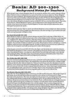 Benin AD 900-1300: Free Teachers' Guide