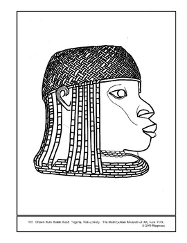 Benin Head.  Nigeria.  Coloring page and lesson plan ideas