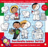 Benito Juárez Clipart Bundle, color and black/white, Mexic