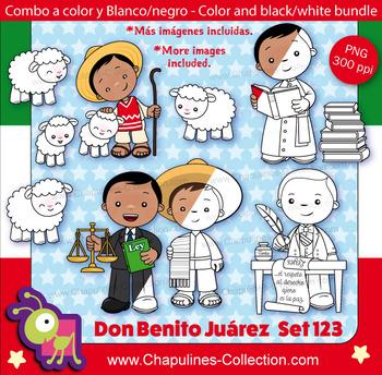 Benito Juárez Clipart Bundle, color and black/white, Mexic