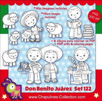 Benito Juárez Clipart, black and white, Blanco y negro, Mexico Set 122