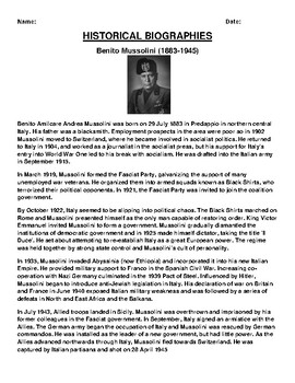 Benito Mussolini (1883-1945) Biography Article and (3) Assignments