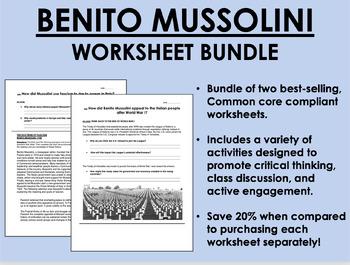 Benito Mussolini Worksheet Bundle