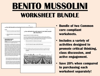Benito Mussolini Worksheet Bundle - Global/World History C