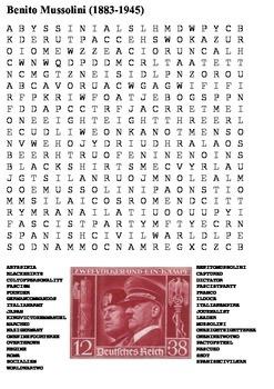 Benito Mussolini Word Search