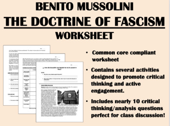 Benito Mussolini and Fascism worksheet - Global/World Hist