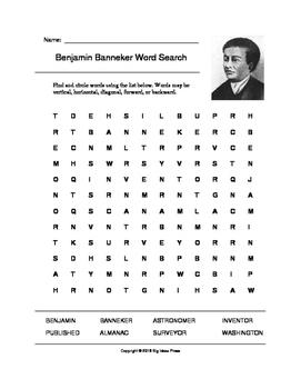Benjamin Banneker Word Search (Grades 3-5)