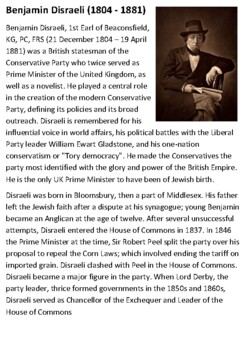 Benjamin Disraeli Handout