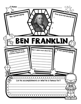 Benjamin Franklin Research Organizers for Famous Inventors Research Projects