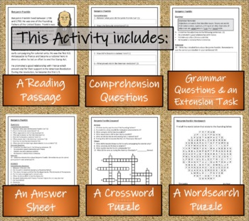 Benjamin Franklin - 3rd Grade & 4th Grade Close Reading Activity