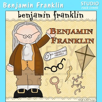 Benjamin Franklin US History Color Clip Art  C. Seslar