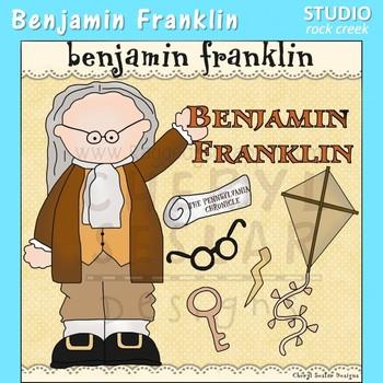 Benjamin Franklin US History Color Clip Art  C. Seslar