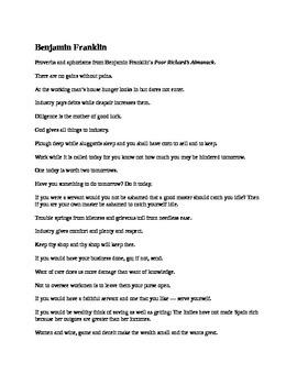 Benjamin Franklin Aphorisms