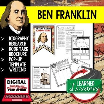 Benjamin Franklin Biography Research, Bookmark Brochure, Pop-Up, Writing