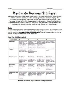 Benjamin Franklin Bumper Sticker Project Sheet