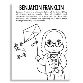 Benjamin Franklin Coloring Page Craft or Poster, STEM Technology History