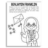 BENJAMIN FRANKLIN Inventor Coloring Page Craft or Poster, STEM History