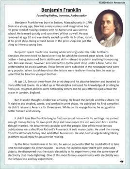 Benjamin Franklin Reading Comprehension