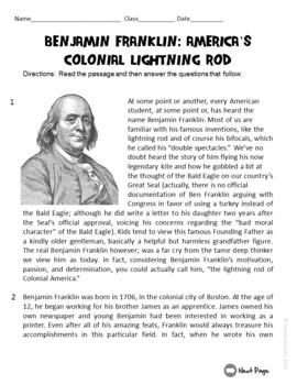 Benjamin Franklin ELA Informational Text Test Prep Passage