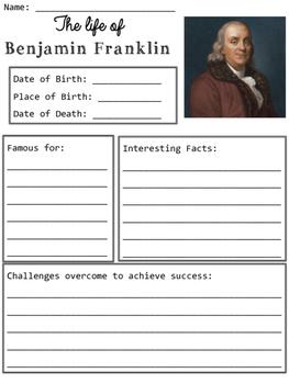 Benjamin Franklin Graphic Organizers