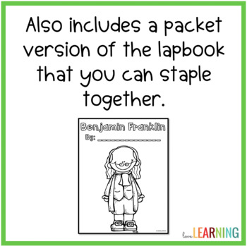 Benjamin Franklin Lapbook and Packet - 2 Versions for Easy Differentiation