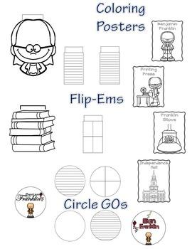 Benjamin Franklin Mini Research Fold-Ems, Word Wall, & Writing Templates
