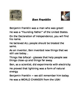 Benjamin Franklin Poem and Assessment