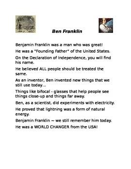 Benjamin Franklin Poem and Assessment
