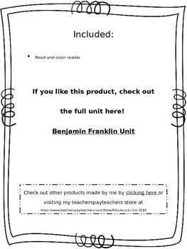 Benjamin Franklin Reader FREEBIE!