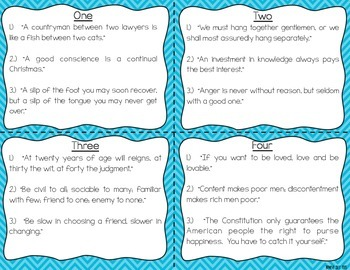 Benjamin Franklin Reading Fluency & Comprehension Task Cards
