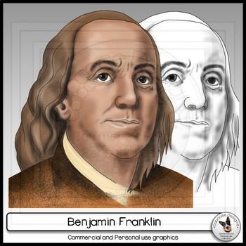 Benjamin Franklin Realistic Clip Art Portrait