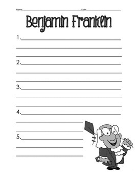 Benjamin Franklin Recording Sheet