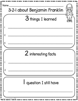 Benjamin Franklin Research Activity Sheets and Graphic Organizers