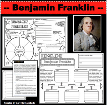 Benjamin Franklin Timeline Poster Acrostic Poem Activity with Reading Passage