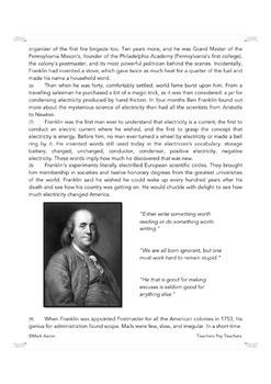 Benjamin Franklin: Versatile Brilliance (Biographical Passage and Assessment)