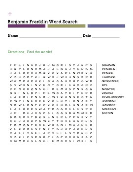 Benjamin Franklin Word Search