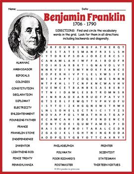 Benjamin Franklin Word Search Puzzle
