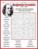 Benjamin Franklin Activity - Word Search FUN