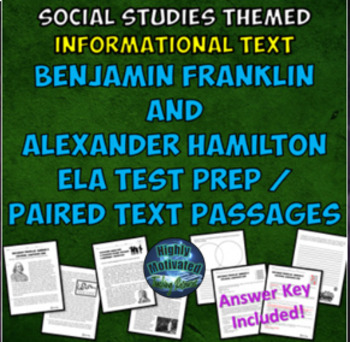 Benjamin Franklin and Alexander Hamilton Paired Text Passages for ELA Test Prep