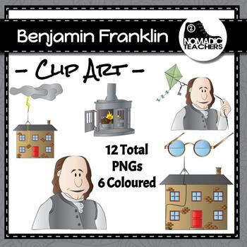 Benjamin Franklin and his inventions Clip Art - 12 PNGS