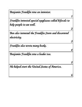 Benjamin Franklin cut and paste book