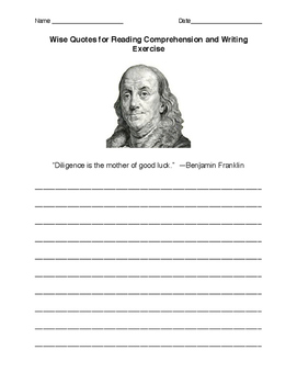 Benjamin Franklin's Wisdom Writing Response Sheet