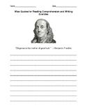 Benjamin Franklin's Wisdom Writing Response Sheet